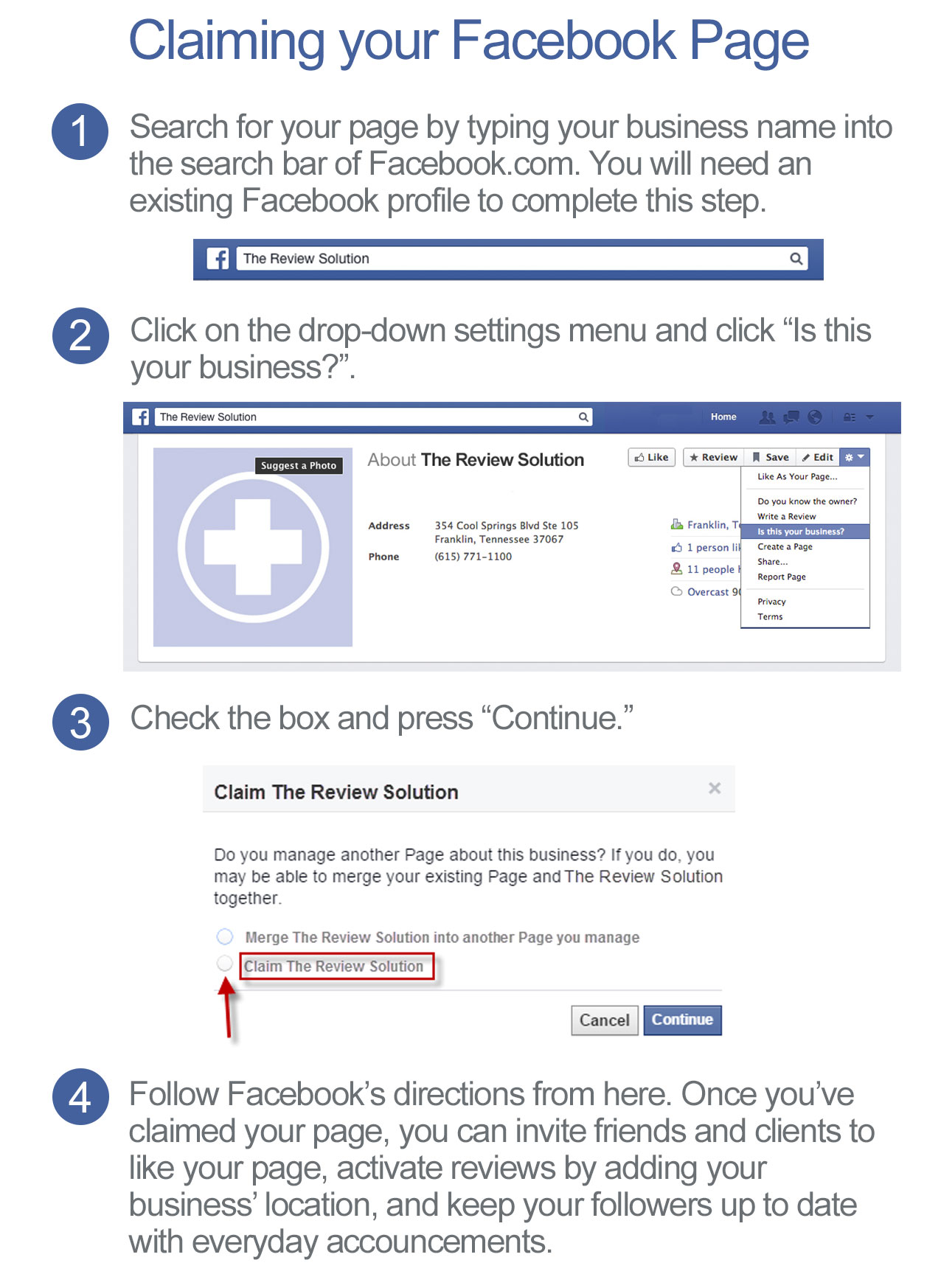 Claiming your Facebook Listing